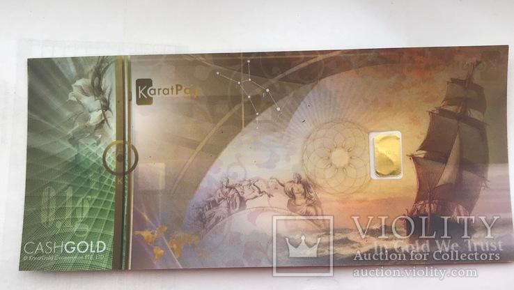 Пластиковая бона Karat Gold Cooperation PTE Ltd. с золотым слитком 0,1 гр., фото №7