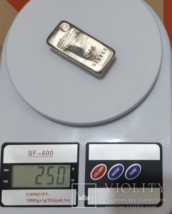 Серебро 999 пробы в литом банковском слитке 250 грамм Швейцария, фото №3