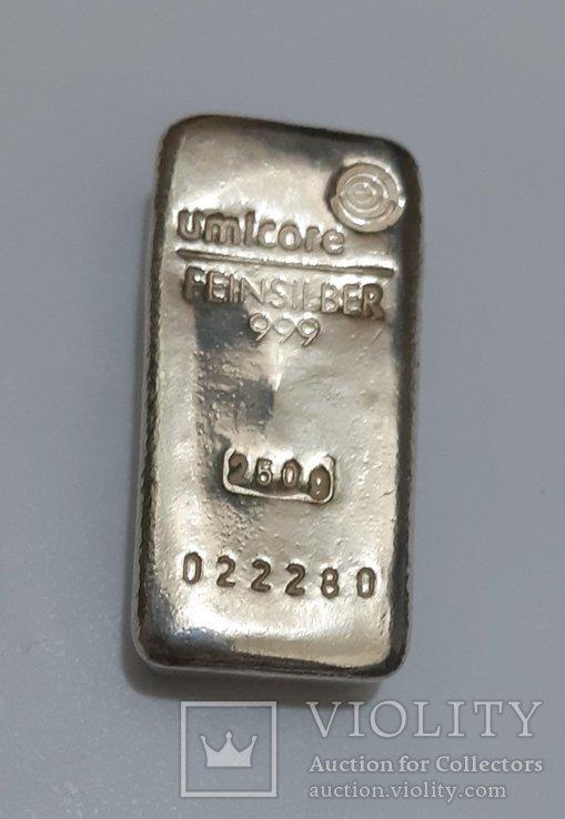 Серебро 999 пробы в литом банковском слитке 250 грамм Швейцария, фото №2