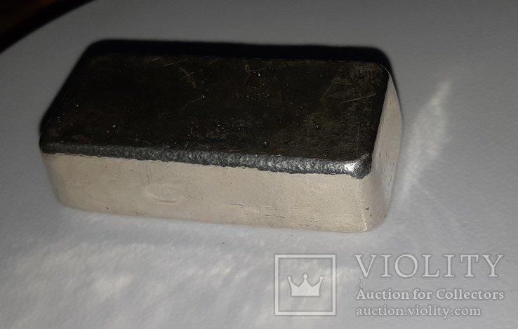 Серебро 999 пробы в литом банковском слитке 250 грамм Швейцария, фото №6