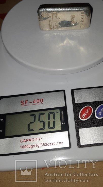 Серебро 999 пробы в литом банковском слитке 250 грамм Швейцария, фото №8