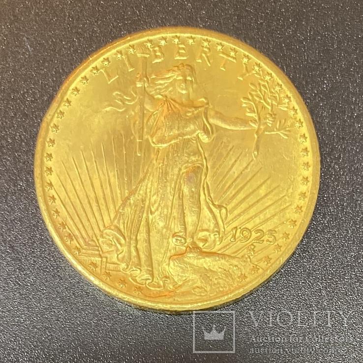 Золотая монета 20$ Двойной Орёл, 1925г