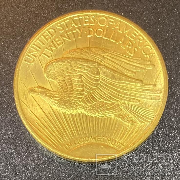 Золотая монета 20$ Двойной Орёл, 1925г, фото №3