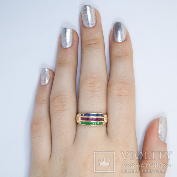 Золотое кольцо с натуральными рубинами, сапфирами, изумрудами, фото №3