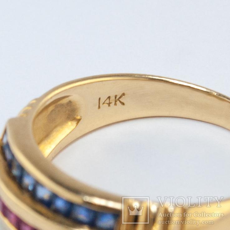 Золотое кольцо с натуральными рубинами, сапфирами, изумрудами, фото №5