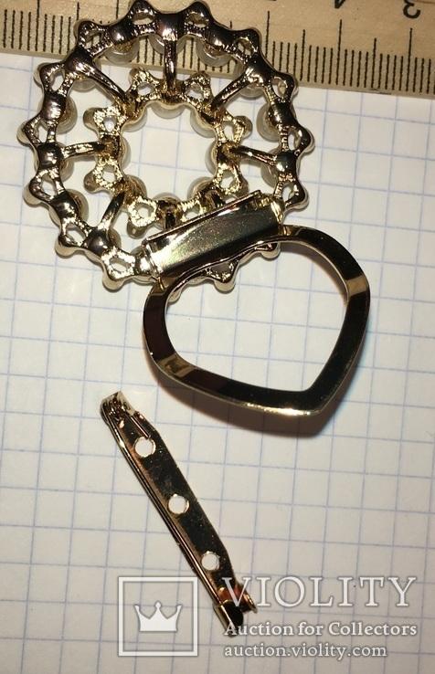 Дресс-клип, зажим для шарфа с булавкой (с жемчужинками) / дрес кліп з перлинками + бонус, фото №3