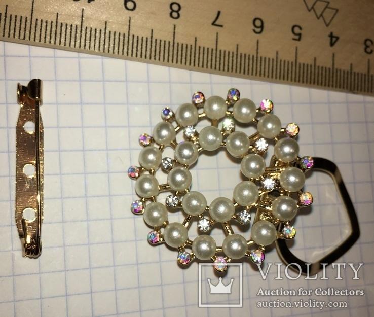 Дресс-клип, зажим для шарфа с булавкой (с жемчужинками) / дрес кліп з перлинками + бонус, фото №2