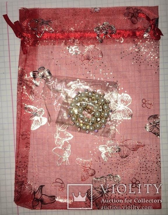 Дресс-клип, зажим для шарфа с булавкой (с жемчужинками) / дрес кліп з перлинками + бонус, фото №7