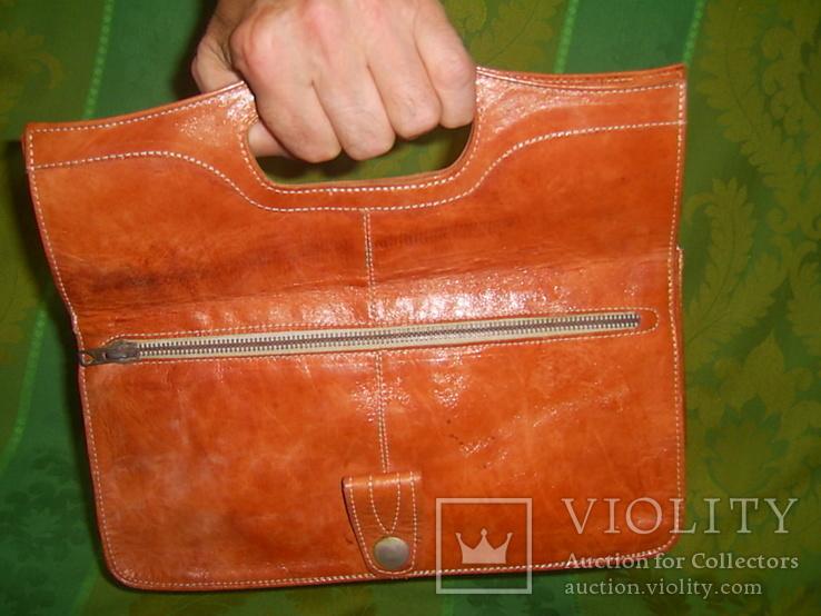 Клатч-сумочка трансформер кожаный. винтажный 40-50е годы, фото №7