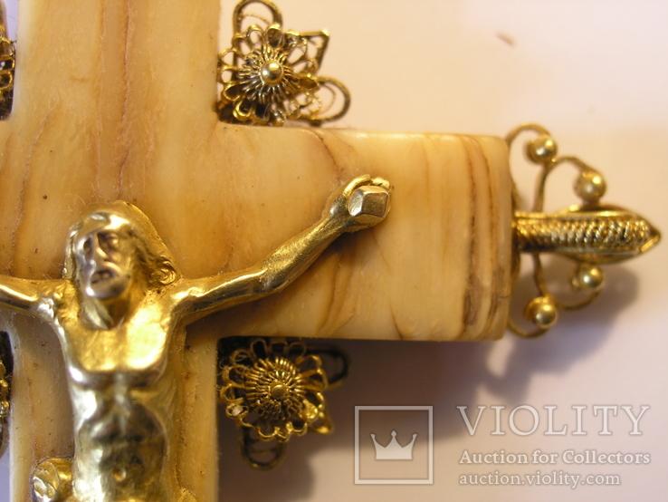Старинное Золотое распятие на кости., фото №8