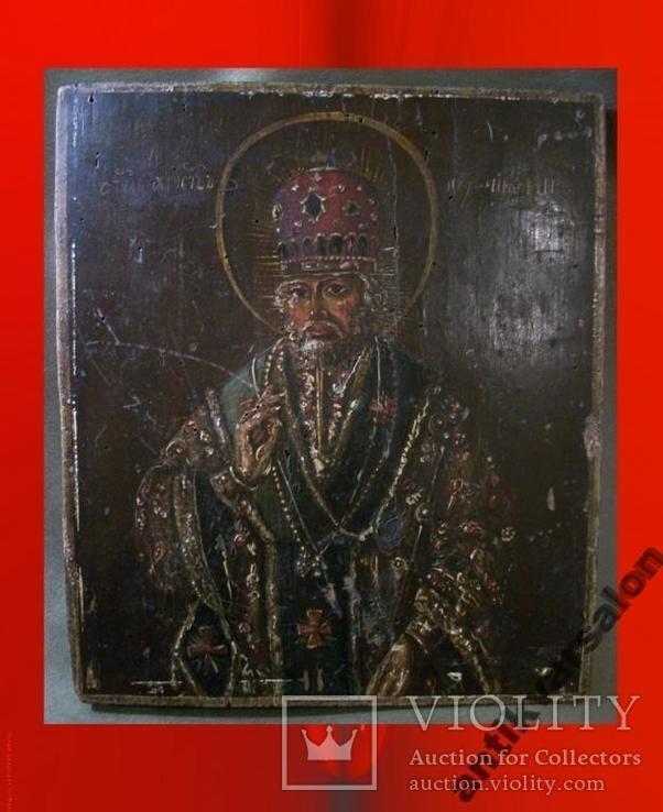 183 Икона Николай Чудотворец 19 век, 27,5*24*2 см., фото №3