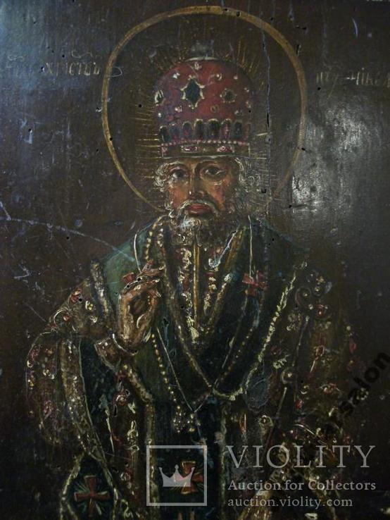 183 Икона Николай Чудотворец 19 век, 27,5*24*2 см., фото №4