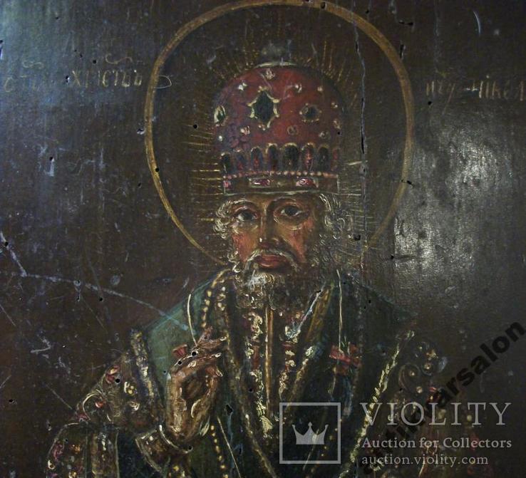 183 Икона Николай Чудотворец 19 век, 27,5*24*2 см., фото №5