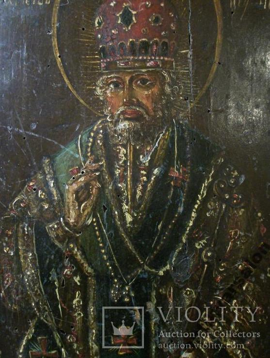 183 Икона Николай Чудотворец 19 век, 27,5*24*2 см., фото №6