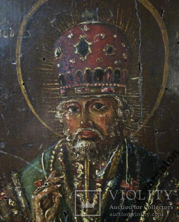 183 Икона Николай Чудотворец 19 век, 27,5*24*2 см., фото №2