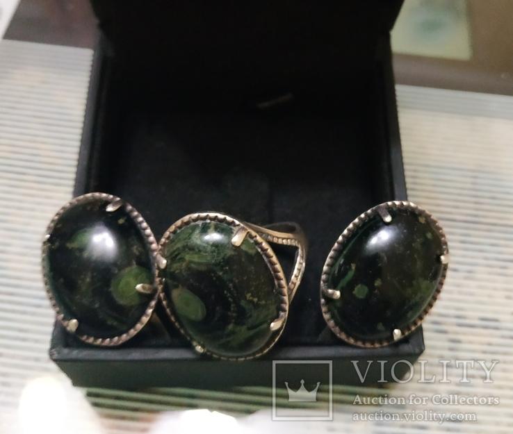 Набор Серьги и кольцо серебряные 925 пробы, фото №7