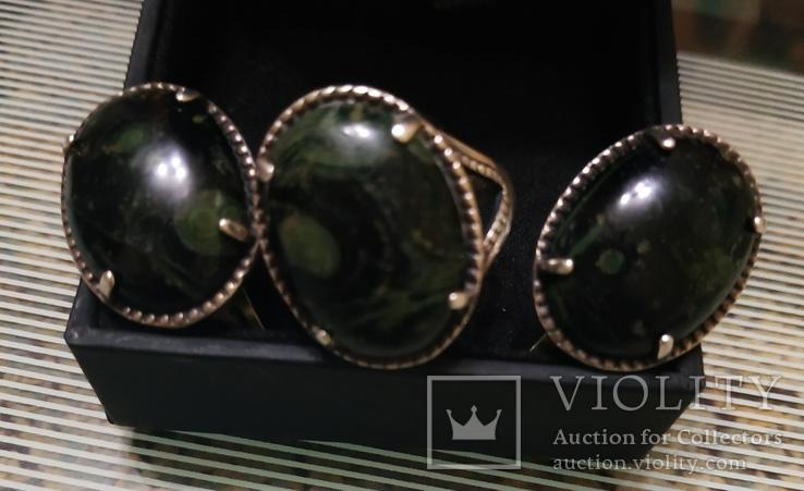 Набор Серьги и кольцо серебряные 925 пробы, фото №2