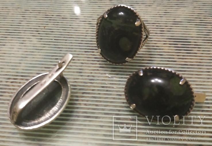 Набор Серьги и кольцо серебряные 925 пробы, фото №11