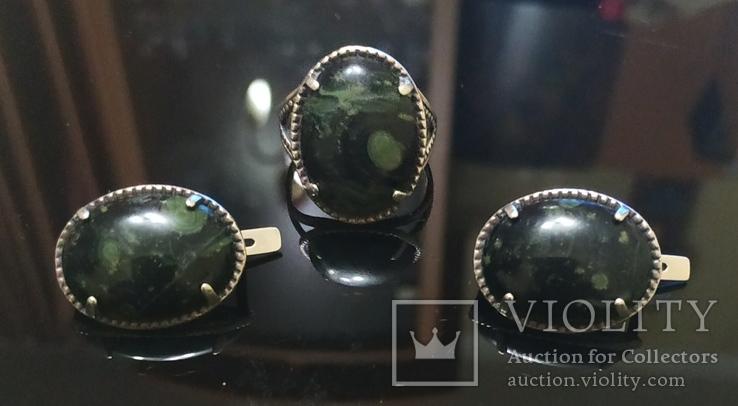 Набор Серьги и кольцо серебряные 925 пробы, фото №3
