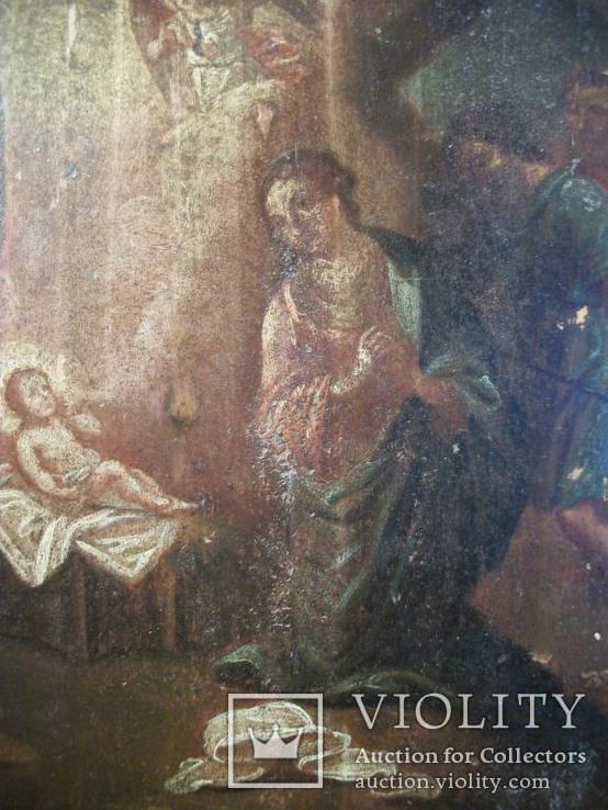 961 Икона Рождество Христово, масло, дерево. 19 век, фото №4