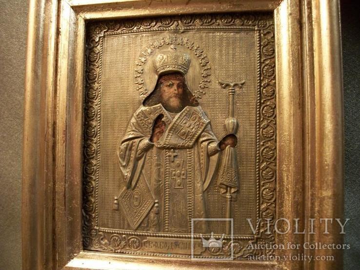 419 Икона Феодосий Черниговский, литография., фото №3