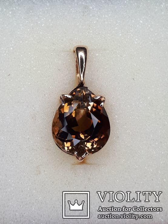 Кулон с камнем раухтопаз в золоте 585, фото №2