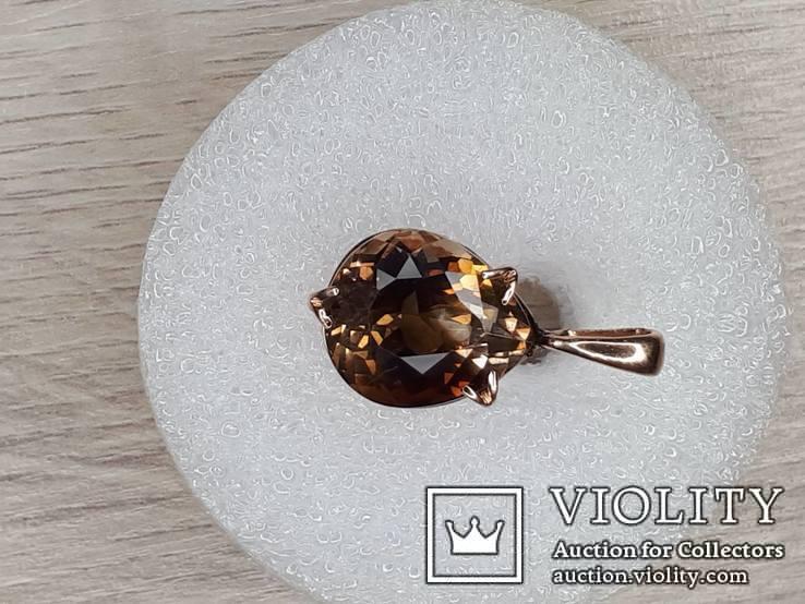Кулон с камнем раухтопаз в золоте 585, фото №3