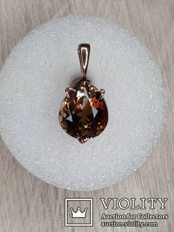 Кулон с камнем раухтопаз в золоте 585, фото №4