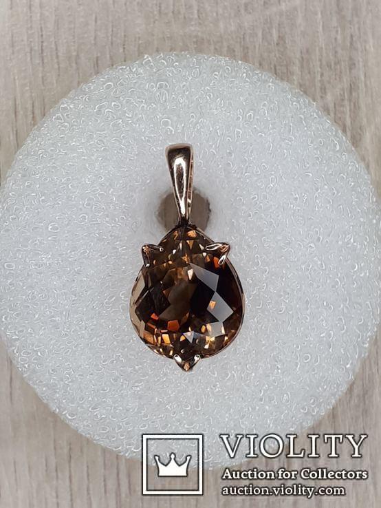 Кулон с камнем раухтопаз в золоте 585, фото №8
