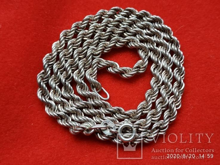 Цепочка плетение верёвка серебро, фото №3