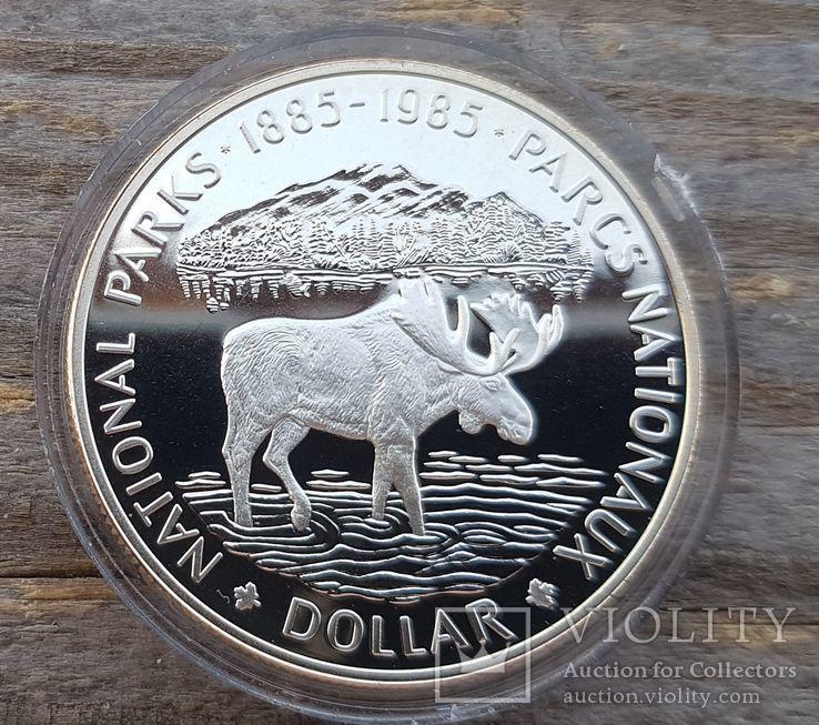 Канада 1 доллар 1985 г. Серебро. 100-летие национального парка Канады Банф. Лось., фото №2