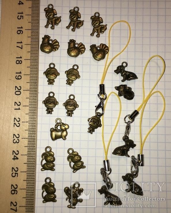 Подвески, талисман, знаки зодиака / брелоки, підвіски, фурнітура, 21 шт. + бонус, фото №3