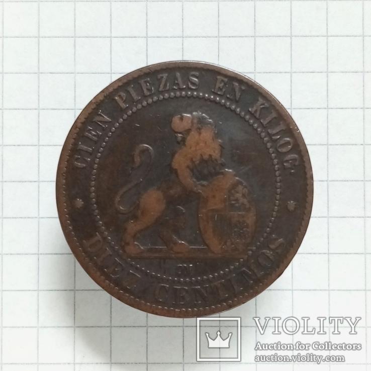 10 сантимов 1870г Испания, фото №2