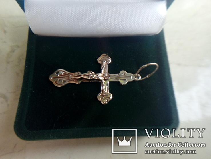 Хрестик срібний 925 з позолотою 2 г, фото №2