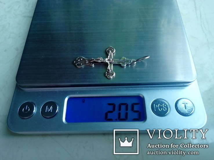 Хрестик срібний 925 з позолотою 2 г, фото №5