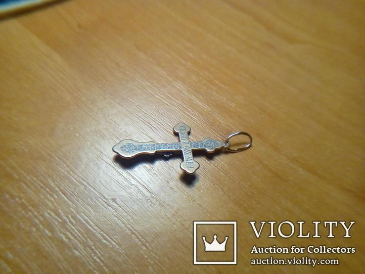 Хрестик срібний 925 з позолотою 2 г, фото №10