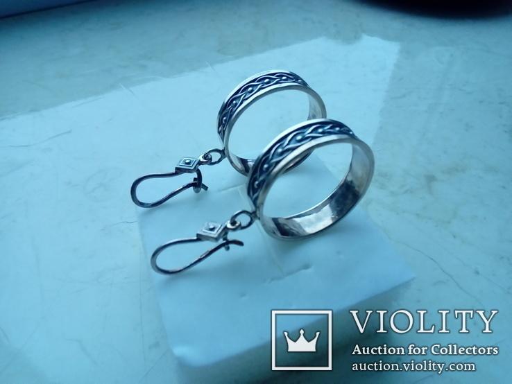 Сережки підвіски срібні СССР  8,6 г, фото №2