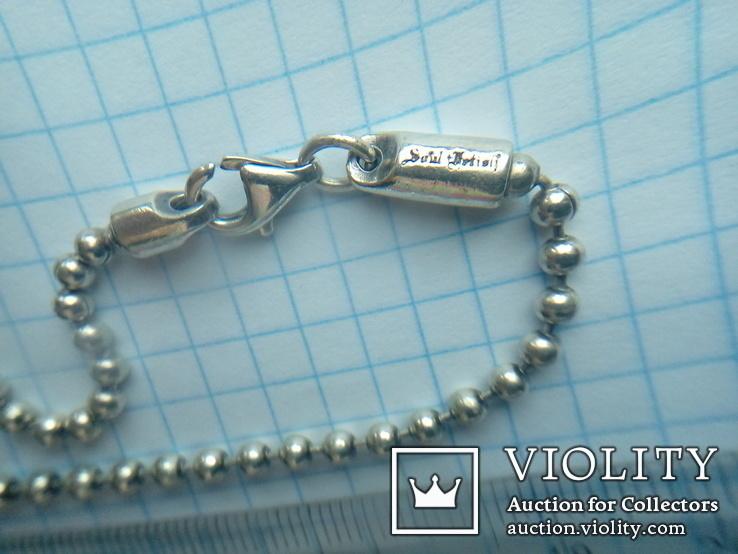 Ланцюжок срібний 925 фантазійного плетіння перлина 51 см, фото №7