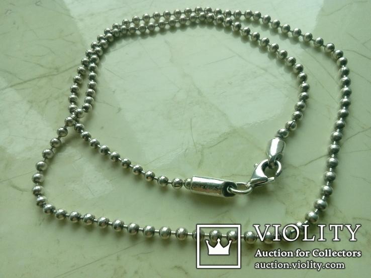 Ланцюжок срібний 925 фантазійного плетіння перлина 51 см, фото №9