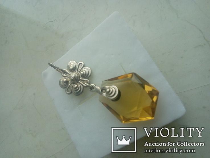 Підвіс срібний старовинний з позолотою, фото №7