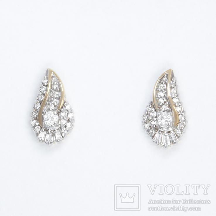 Золотые серьги-пуссеты с бриллиантами, фото №2