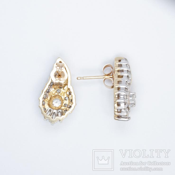Золотые серьги-пуссеты с бриллиантами, фото №3