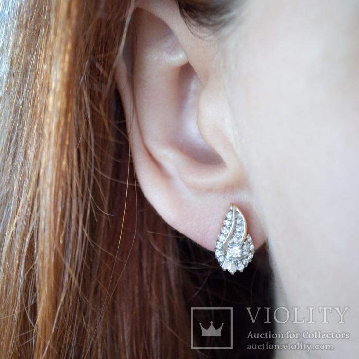 Золотые серьги-пуссеты с бриллиантами, фото №4