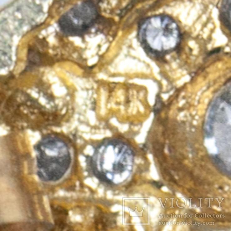 Золотые серьги-пуссеты с бриллиантами, фото №5