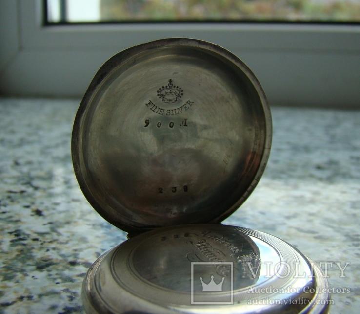 Часы карманные Andreas Huber Munchen 1890 г. серебро на ходу, фото №5