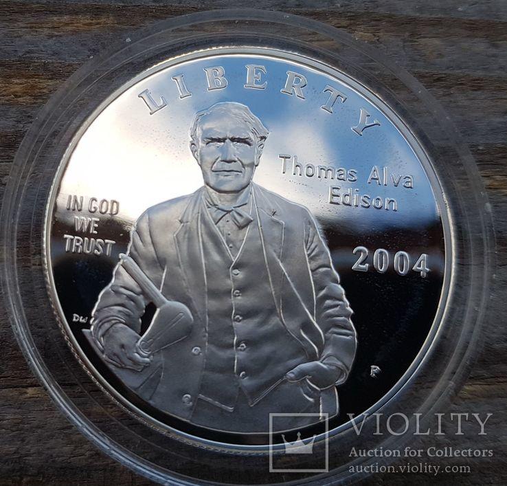 США 1 доллар 2004 г. 125-летие электрической лампочки Эдисона. Пруф, фото №2