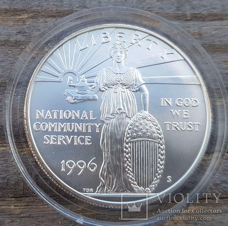 США 1 доллар 1996 г. Серебро. Государственная и муниципальная служба. Тираж 23 500, фото №2