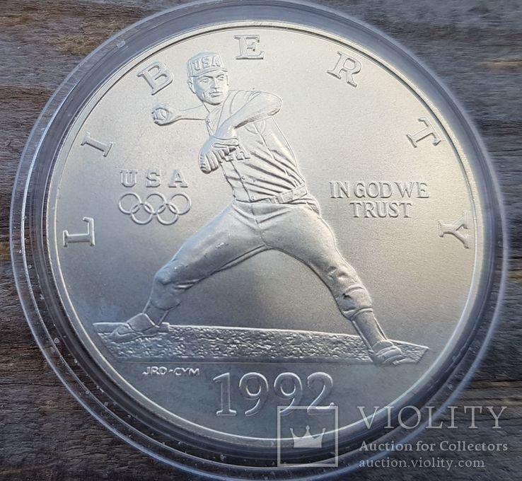 США 1 доллар 1992 г. Серебро. Бейсбол. XXV Летние Олимпийские игры 1992 года в Барселоне., фото №2