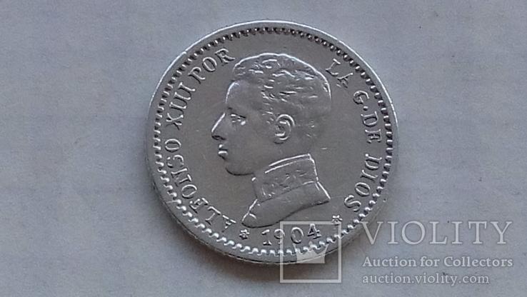 Испания 50 сантимов 1904 ALFONSO XIII (Юноша, фото №2