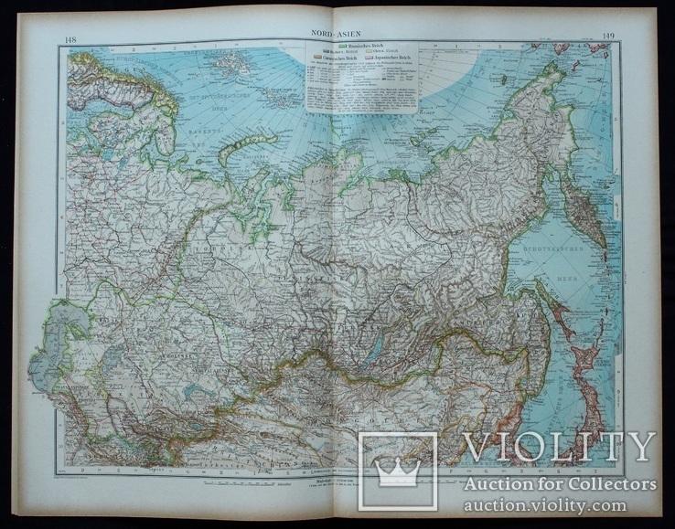 2 карты. Азия. Andrees HandAtlas. 1921 год. 56 на 44 см. (3), фото №3